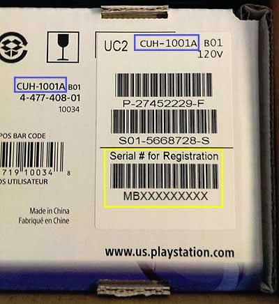 محل درج ( مدل نامبر ) Model Number در کارتن PS4